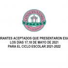 Lista de aspirantes aceptados de la Primera Convocatoria para el Ciclo Escolar 2021-2022